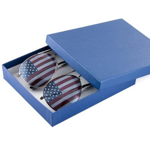 a33f332213e Patriotic American Flag Aviator Sunglasses USA Glasses Gift Box  (Gunmetal Silver