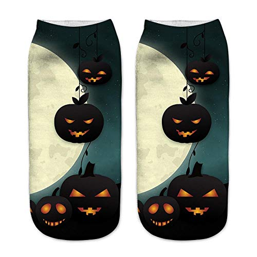 Honhui 3D Halloween Socks, Pumpkin Printing Medium Sports Socks Casual Business Socks ,Best Gifts for Friends, Year Round (D) -