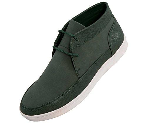 Sio Pebble Grain & Faux Suede Moc Toe High Top Stile Sneaker Casual Tyson Verde / Bianco