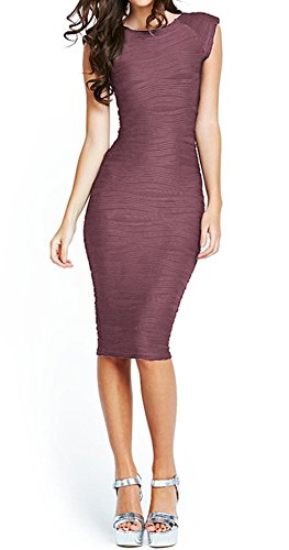 Taydey Women's Solid Sleeveless Spaghetti Strap Side Slit Bodycon Dress Brown-M ()