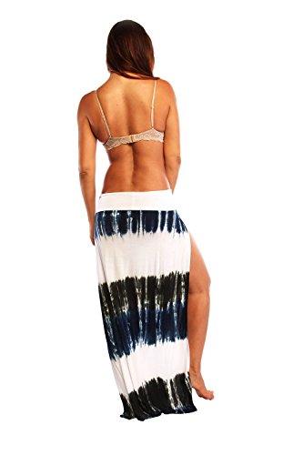 Ingear Lady de lado abierto verano faldas Azul (Blue Tie Dye)