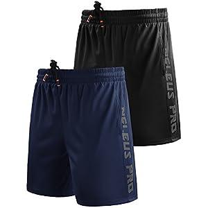 """Neleus Men's 7"""" Workout Running Shorts with Pockets,6056,2 Pack,Black,Navy Blue,US XL,EU 2XL"""