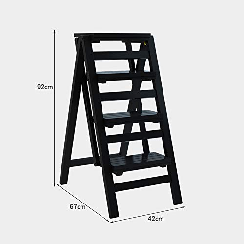 FEI Estantería Taburete de Escalera de 4 escalones Escalera de Escalada multifunción Escalera de Madera Taburete de Paso Plegable Espesar Instalación ...