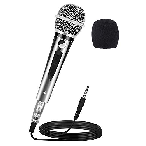 (Ankuka Wired Dynamic Karaoke Microphones, Professional Handheld Vocal Mic with 13ft 6.35mm XLR Audio Cable Compatible with Karaoke Machine/Speaker/Amp/Mixer for Singing, Speech, Wedding, Stage)