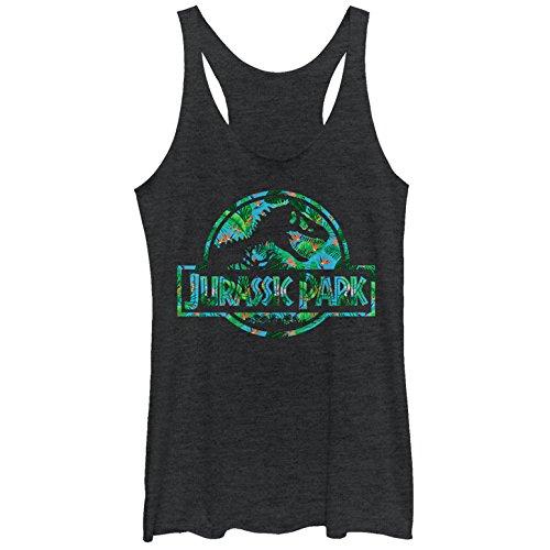 Jurassic Park Women's Floral T Rex Logo Black Heather Racerback Tank Top -