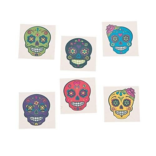 Day of the Dead Sugar Skull Tattoos, 72 Count -
