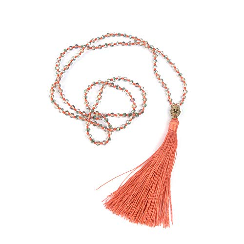 - VEINTI+1 Bohemia Crystal Glass Beads Golden Buddha Head Tassels Long Sweater Chain Women's Necklace (J-Dark Orange)