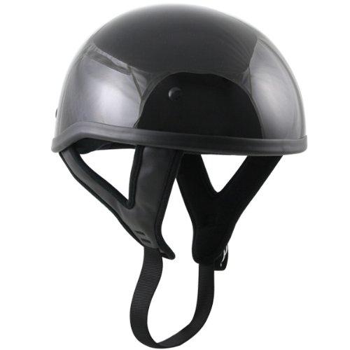 Skull Cap Dot Helmets Motorcycle (Outlaw T68 DOT Black Glossy Motorcycle Skull Cap Half Helmet - Large)