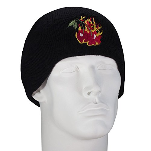 Flaming Cherries Embroidered Black Beanie - Single - Cherry Black Beanie