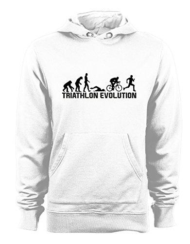 Felpa Cappuccio Evolution Cotone In Humor Con Triathlon Bianco Sport wS4rRFwq