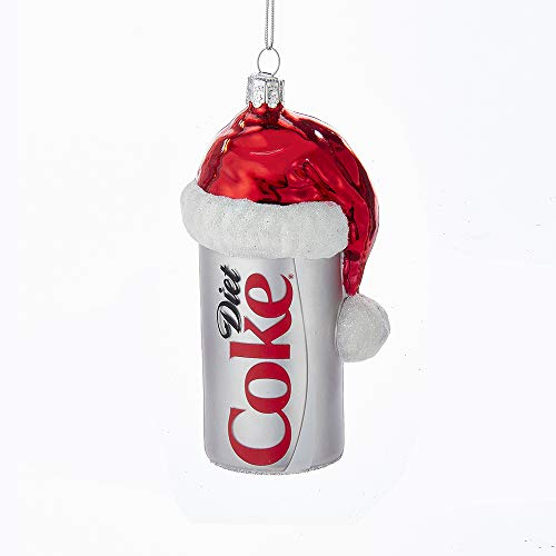 Hat Santa Ornament Glass (Kurt Adler CC4163 Glass Diet Coke Can Ornament with Santa Hat, 4.5