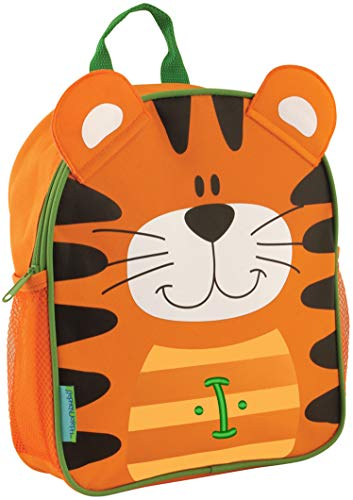 Monogrammed Stephen Joseph Tiger Mini Sidekick Backpack, with Green Embroidered Initial I ()