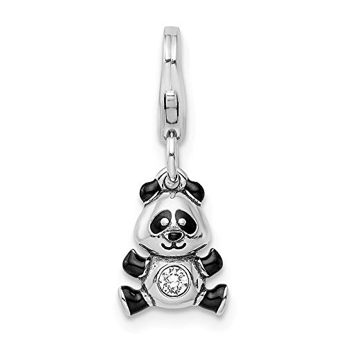 925 Sterling Silver Rh Enameled Swarovski Panda Lobster Clasp Pendant Charm Necklace Animal Bear Fine Jewelry Gifts For Women For Her