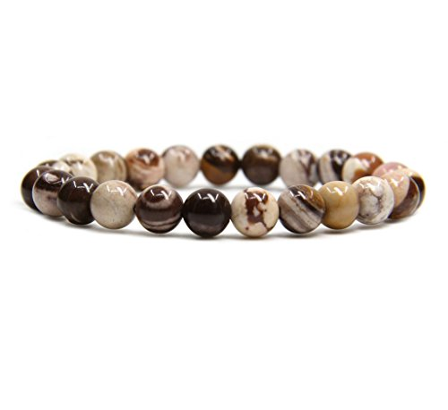 Amandastone Natural African Zebra Jasper Gemstone 8mm Round Beads Stretch Bracelet 7