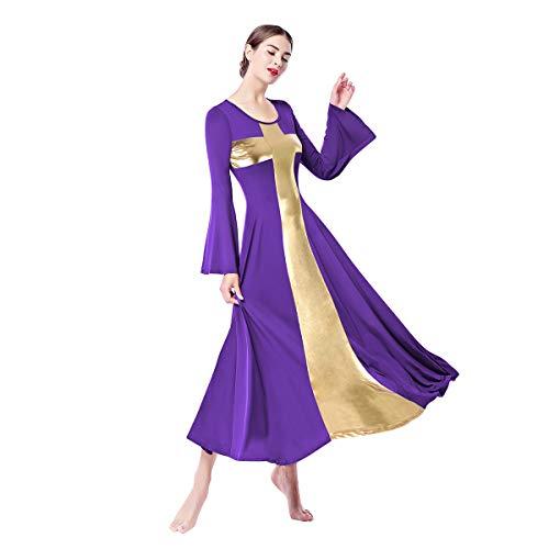 d7175d36a24 IMEKIS Women Modern Waltz Tango Dancing Clothes Ballroom Dance Skirts  Liturgical Praise Lyrical Dance Dress Casual
