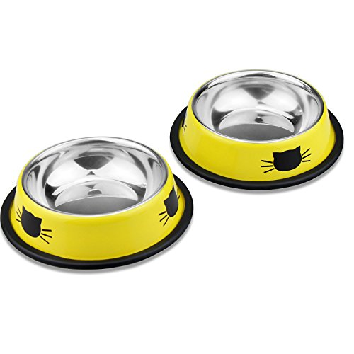 Comsmart Stainless Steel Pet Cat Bowl Kitten Puppy Dish Bowl with Cute Cats Painted Non-Skid for Small Dogs Cats Animals (Set of 2) (Yellow/Yellow) by Comsmart (Image #8)