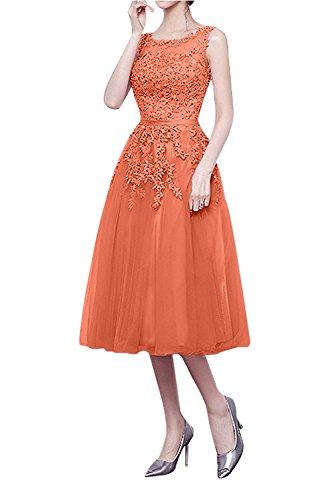 Cocktailkleider Kleider Jugendweihe Partykleider Tanzenkleider Linie A Orange Abendkleider La Kurz Brau mia Knielang Abschlussballkleider YqnxRXH