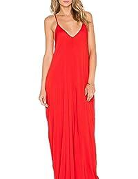 Women's Low V-Neck and Low V-Back Maxi Dress
