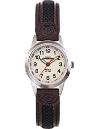 Timex Women's T41181 Expedition Metal Field Mini Black/Brown Nylon/Leather Strap Watch