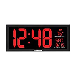 AcuRite 75127MDI Oversized LED Clock with Indoor Temperature, Date and Fold-Out Stand, Red,14.5