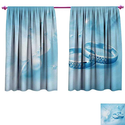 cobeDecor Wedding Decorative Curtains for Living Room Engagement Wedding Rings with Pearls on Blue Dreamy Background Artwork Print Patterned Drape for Glass Door W63 x L72 Pale Blue White ()
