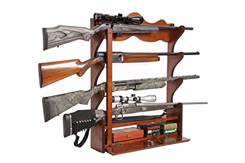 American Furniture Classics 840 4 Gun Wall Rack, Medium Brown -