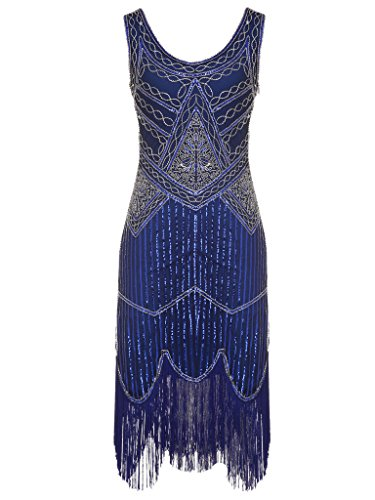 1920s Couple Costumes (FAIRY COUPLE 1920S Sequined Beaded Tassels Hem Gatsby Flapper Dress D20S001(S,Navy Blue))