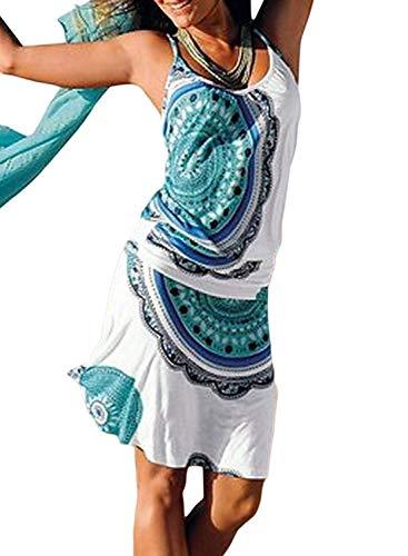 (Asvivid Womens Fashion Sexy Sleeveless Tribal Printed Flowy Vest Tunic Tank Dress Plus Size 1X Black)