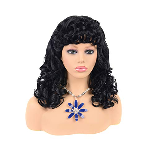 Short Curly Kinky Wigs for Black Women Fluffy Wavy Black Synthetic Hair Wig Natural Looking Wigs Heat Resistant Wigs with Wig Cap 16'' (Braided Hairstyles For Natural African American Hair)