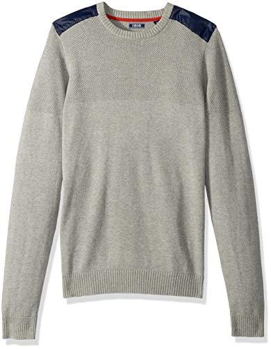 IZOD Men's Big and Tall Newport Stripe 7 Gauge Crewneck Sweater, Light Grey Heather, 3X-Large