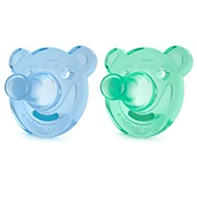 Philips Avent Soothie Bear Shaped Pacifiers, 3 Months Plus, 2-Pack, Blue/Green