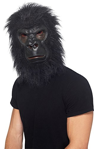 Sasquatch Mask (Realistic Furry Black Gorilla Ape Animal Costume Mask, Adult, One Size)