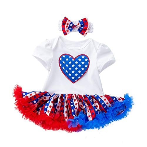 - perfectCOCO Baby Girl Tutu Dress 4th of July Patriotic Outfit Flag Costume Party Dress Set Summer Bodysuit White