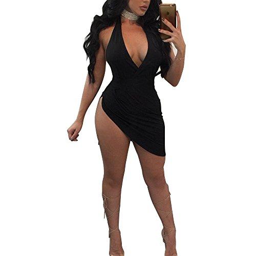 Silk Dress Neck Halter (MS Mouse Girls Sexy Deep V Neck Halter Slit Party Club Short Midi Dress L Black Large)