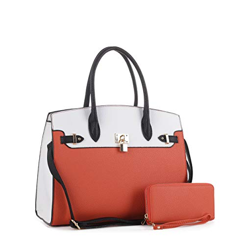 DELUXITY Women's Designer Top Handle Satchel Handbag Tote Bag Briefcase 2pc set | Orange/White