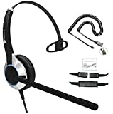 TruVoice HD-500 Deluxe Single Ear Noise Canceling Office/Call Center Headset with U10P Bottom Cable Works with Mitel, Nortel, Avaya Digital, Polycom VVX, Shoretel, Aastra, Digium, Fanvil + Many More