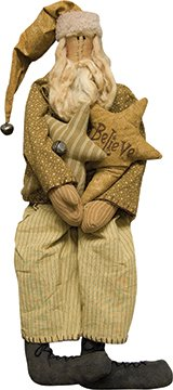 Primitive Old World Santa Doll Tea Dyed Muslin Antiqued Rusty Jingle Bell Folk Art Country Christmas Décor (Bell Folk Art)