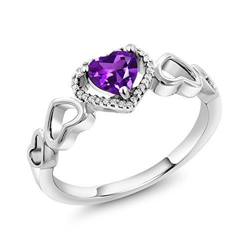 Amethyst Engagement Genuine Ring - 10K White Gold Purple Amethyst and Diamond Accent Engagement Ring 0.60 Ctw Heart Shape (Size 7)
