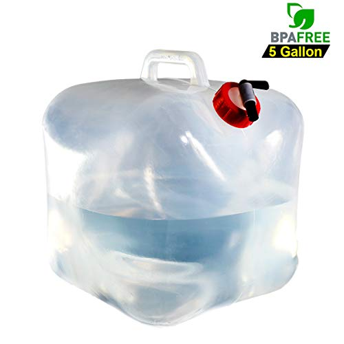 SUNDERPOWER BPA Free Collapsible Water Container, 5-Gallon Portable WaterStorage Container for Hiking Camping Picnic Travel BBQ ()