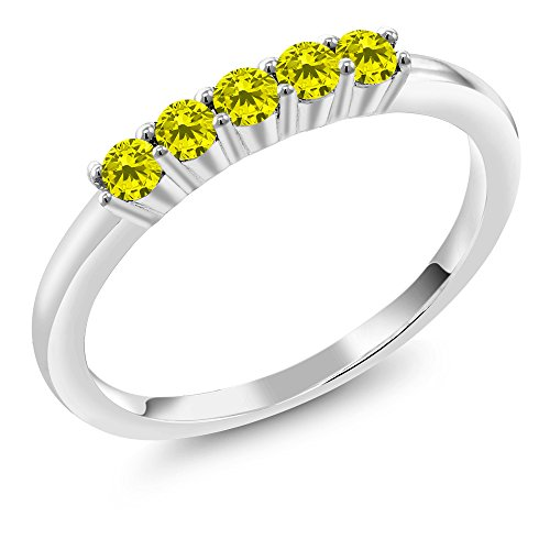 0.33 Ct Round Canary Diamond 925 Sterling Silver Five Stone Anniversary Wedding Band Canary Diamond Wedding Rings