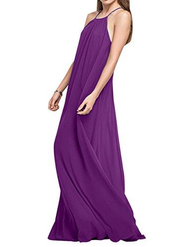 Lang Brau Abendkleider Brautjungfernkleider Einfach Chiffon Partykleider Linie Rock Violett Festlichkleider La Elegant mia A 6qSwqz1