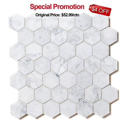Italian Carrara White Hexagon Honeycomb 2 in Polished Carrera Marble Mosaic Tiles for Bathroom Kitchen Wall Floor Backspalsh Tiles by Li Decor