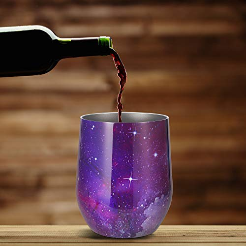 Skylety 12 oz Double-insulated Stemless Glass, Stainless Steel Tumbler Cup with Lids for Wine, Coffee, Drinks, Champagne, Cocktails, 2 Sets (Starry Purple) by Skylety (Image #4)