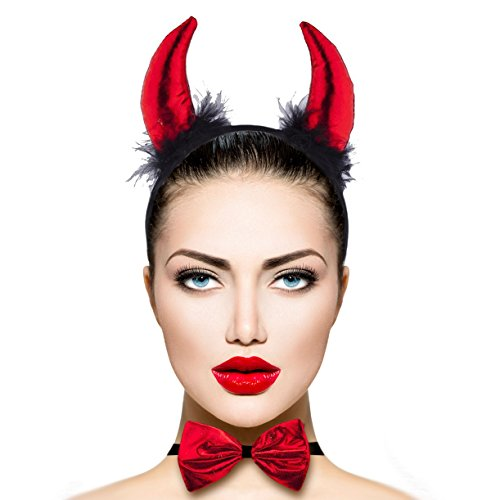 Devil Costumes Women (Lux Accessories Red Black Fuzzy Sexy Devil Halloween Costume Accessory Set 3PC)