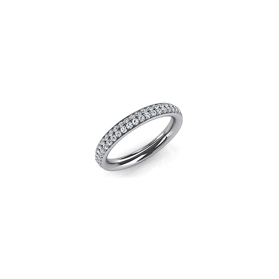 1.35 ct. Ladies Two Row Round Cut Diamond Wedding Band in Platinum