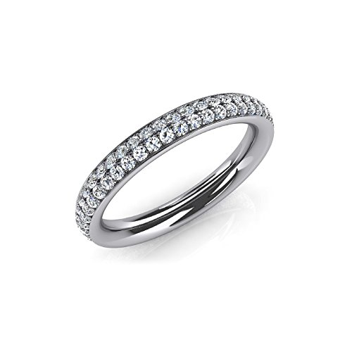 1.35 ct. Ladies Two Row Round Cut Diamond Wedding Band in 18 kt White Gold