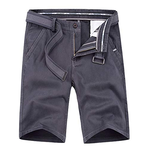 MODOQO Cargo Shorts for Men,Casual Loose Solid Color Cotton Tooling Shorts with Belt (Gray,38)