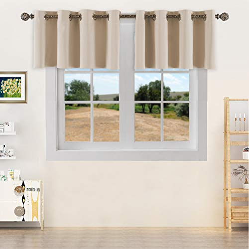 YGO Room Darkening Small Window Curtains Elegant Home Decorative Blackout Valance Tiers with Grommet Top for Living Room Nursery Bedroom 52 Wide by 18 Long Beige Double Panels (For Living Room Valances Curtain)