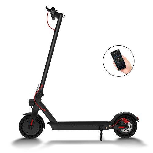 """Hiboy S2 Electric Scooter - 8.5"""" Solid Tires - Up to 17 Miles & 18.6 MPH Portable Folding Commuting Scooter for Adults with Double Braking System, Rear Suspension and App(Seat not Included)"""