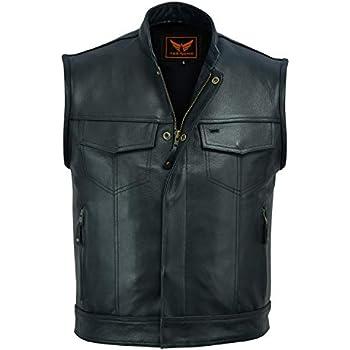 XXX-Large A/&H Apparel Mens Genuine Cowhide Leather Vest Biker Vest Concealed Carry Durable Vest